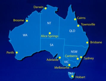 Australia Map Blue small